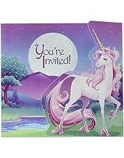 Creative Converting Unicorn Fantasy Invitations (8 Pack), One Size, Multicolor