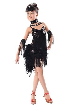 KINDOYO Vestido Para Niñas de Baile Lentejuelas borla Latino Salsa Sin mangas