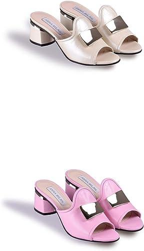 Anna Milan - Sandalias de Mujer con tacón bajo, 100% Piel, Hechas a Mano en España, Color Rosa, Talla 36 EU: Amazon.es: Zapatos y complementos
