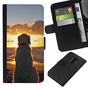 LG G2 D800 D802 D802TA D803 VS980 LS980 , la tarjeta de Crédito Slots PU Funda de cuero Monedero caso cubierta de piel ( Labrador Golden Retriever Sunset Ocean Dog)
