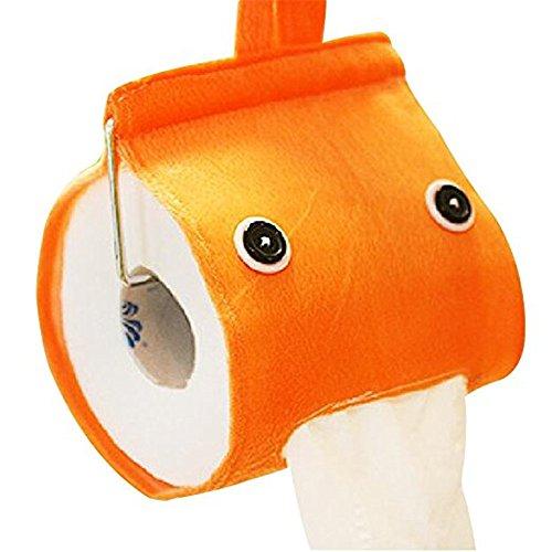 Toilet Tissue Hanging Holder (Creative Roll Paper Holder Cover Cute Bathroom Hanging Toilet Paper Holder Tissue Box Holder (Orange))