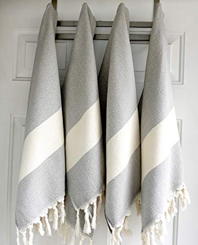 Eco-Friendly Hand Peshkirs Turkish Hand Towels Kitchen Quick Dry Set of 4 | 100/% Cotton Hair Decorative Bathroom Towel Sultana Luxury Linens Dish Black Spa Face Tea Bath