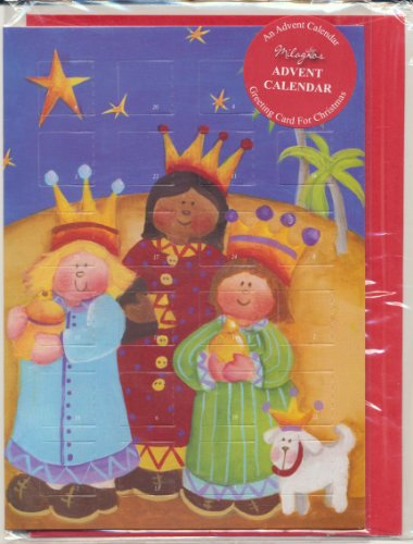 (Children Religious Folk Art Advent Calendar Holy Christmas Greeting Card with Envelope Three Wisemen and Dog with Xmas Prayer Holy Pamphlet)