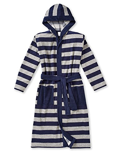 Schiesser Kids Bathrobe Terry striped long Unisex - Nightblue/Grey: : 12-13 Years