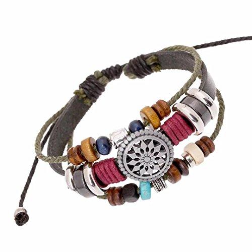 Unique Totem of the Sun Handmade Braided Adjustable Leather Bracelet