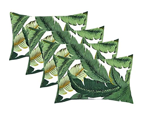 RSH DECOR Set of 4 Indoor Outdoor Decorative Lumbar Rectangle Pillows – Made with Swaying Palms – Aloe – Green Tropical Palm Leaf