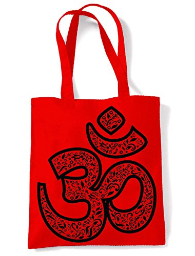 Shopping Large Tote Print Shoulder Symbol Bag Om Red 5qwtzXUx6