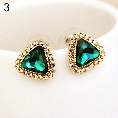 Green Women's Fashion Party Jewelry Triangle Crystal Golden Tone Ear Studs Earrings