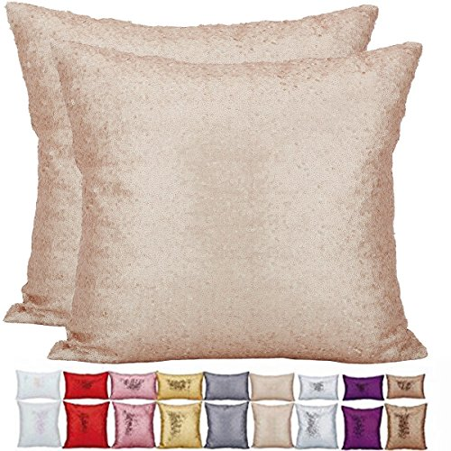 KAOPUS Decorative Pillow Case Solid Color lightweight One Side Glitter Sequins (Different Colors and Sizes) Cushion Cover with Invisible Zipper 2pc for Sofa No Pillow Insert(40x40cm,Beige) (One Sequin)
