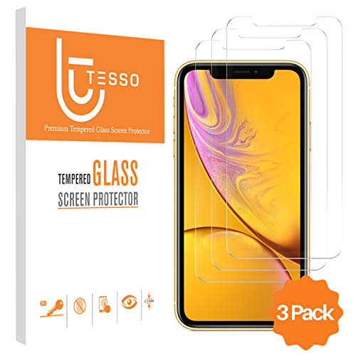 Tesso (3 Pack) Screen Protector Apple iPhone XR 6.1 inch 0.33mm, iPhone XR Tempered Glass Screen Protector [HD] Case Friendly Design (Installation Frame Included)