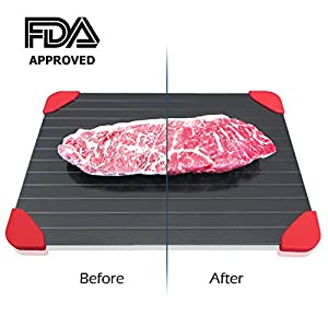 Rapid Thaw Defrosting Tray Large – with Red Silicone Border and Bonus Kitchen Tong – Thawing Frozen Food or Meat Fast with No Electricity or Water – The Quick and Healthy way to Defrost – By AVIEUS