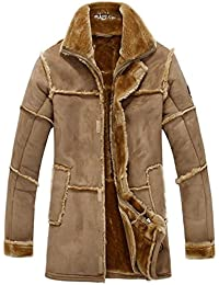 Men's Winter Thick Warm Vintage Suede Sheepskin Jacket Faux Fur Leather Jacket Cashmere Shearling Coat Luxury Overcoat