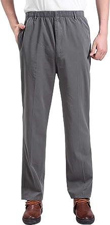 IDEALSANXUN Men/'s Elastic Waist Cargo Pant Relaxed Fit Twill Pants