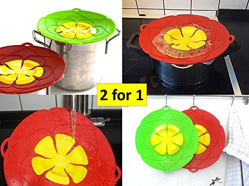 Boil Over Guard & Silicone Spill Stopper. 2 in 1 package (Red & Green). Spill Stopper Lid Cover. Safeguard prevent water boiling over on stove