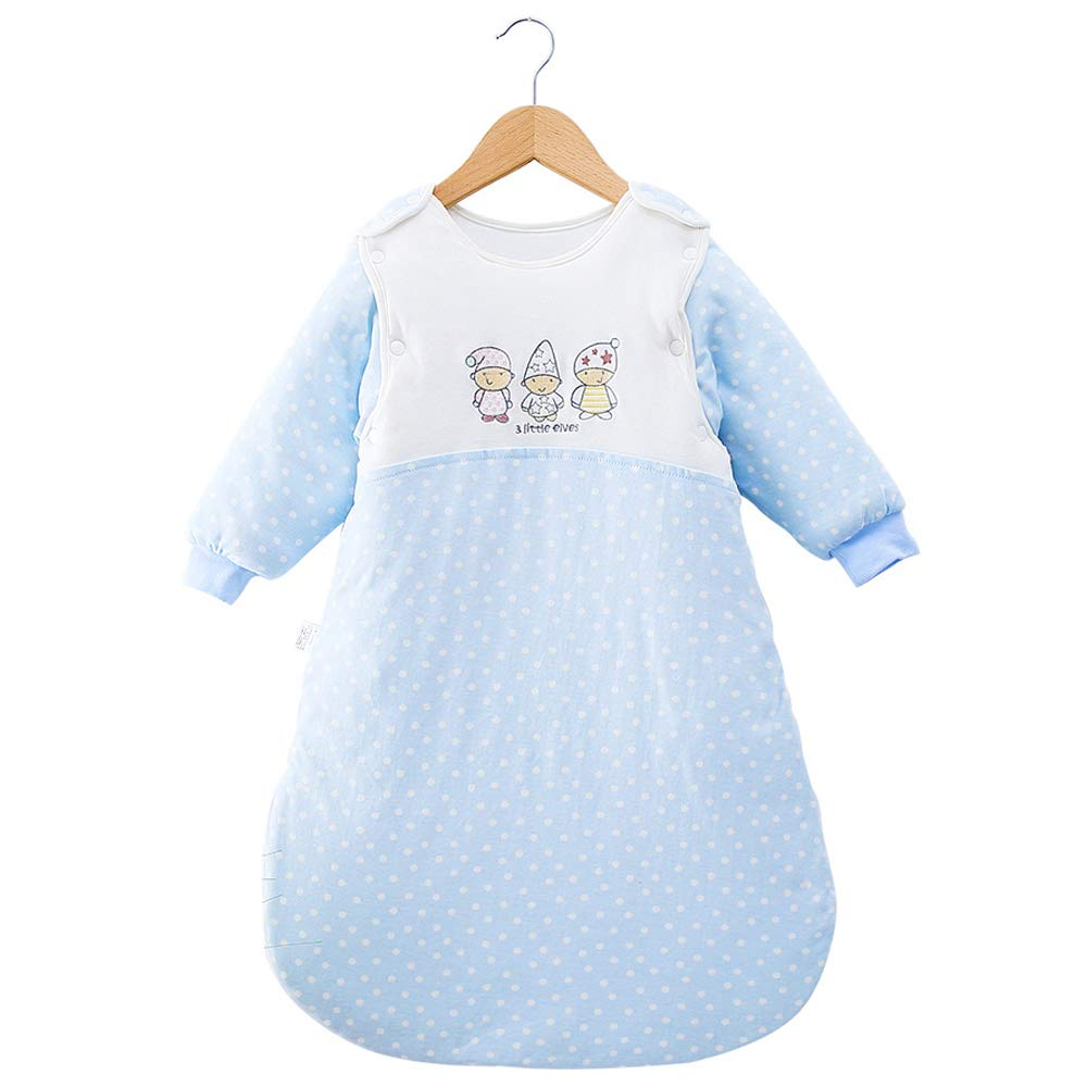 Kaxich Baby Sleeping Bag with Detachable Sleeves Winter Thickened 3.5 Tog fits Newborn Baby (Blue)