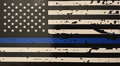 Cops Sticker - Blueline Flags Tattered Thin Blue Line Vinyl Reflective Decal, Black, White & Blue American Flag Sticker Honoring Our Men & Women of Law Enforcement, 3M