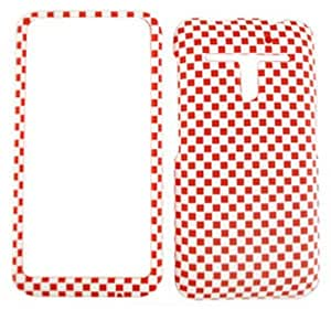 For LG Revolution VS910 Case Cover - Red White Checkers Rubberized 3D307