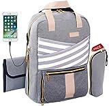 Diaper Bag Slonser Backpack for Mom Women Baby Girl/Boy Large Designer Nappy Bag with Changing Pad, Stroller/Shoulder Straps, USB Charging Port & Free Insulated Bottle Bag – Limited TIME Offer (Gray)