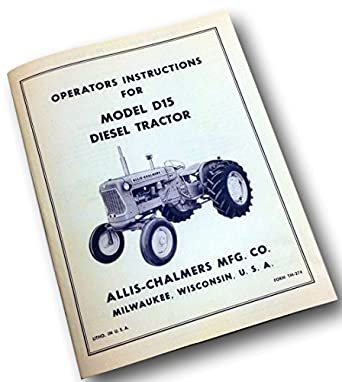 Allis Chalmers D Operators Instructions Owners Manual Diesel Tractor Ac