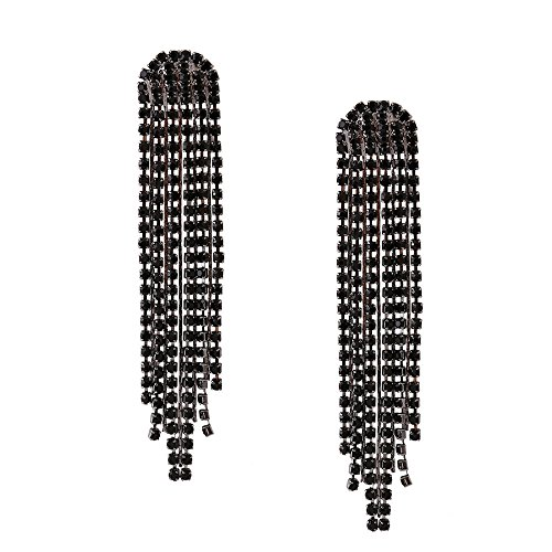 Pendientes largos del temperamento exquisito de las mujeres lujosos pendientes borla de diamantes de imitación elegante línea larga del oído Black