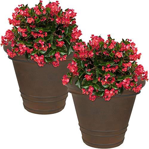 (Sunnydaze Crozier Flower Pot Planter, Outdoor/Indoor Heavy-Duty Double-Walled Polyresin with Fade-Resistant Rust Finish, Set of 2, 16-Inch Diameter)