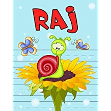 """Raj: Personalized Book with Child's Name for Boys, Primary Writing Tablet for Kids Learning to Write, 65 Sheets of Practice Paper, 1"""" Ruling, Preschool, Kindergarten, 1st Grade, Book Size 8 1/2"""" x 11"""""""
