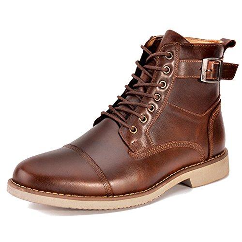 Bureau Brown Bottes Up Travail Bottes Chaussures MERRYHE Véritable Rétro Bottines Cuir Chelsea Rond Chaussures Lace en Bout Classique Hommes RtSSUwq7
