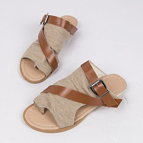 HLHN Woman Slippers,Roman Fish Mouth Buckle Strap Anti-Skidding Ankle Flat Heel Peep-Toe Sandals Shoes Beach Summer Khaki