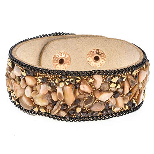 - AMBER DAVIDSON Leather Wide Bracelets Bangles Women Girls Men Crystal Stone Wrap Bracelet Wristband Party Jewelry Gift,C