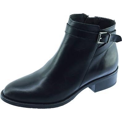5a2487fbf7c803 Angelina® FRIPON Bottine Talon Stable Et Bride Déco Chaussure Femme Boots Marque  Fabriquée Espagne Cuir Noir  Amazon.fr  Chaussures et Sacs
