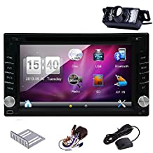 Hot Sale!!! 6.2 inch Double DIN GPS voice Navigation Free 8GB MAP Card HD:800*480 Touch Screen SD/USB Support FM Transmitter Subwoofer Output Support Steering Wheel Control 3D Interface Bluetooth Car logo Several OSD Languages Remote Control 1 Year Warranty Backup camera included!