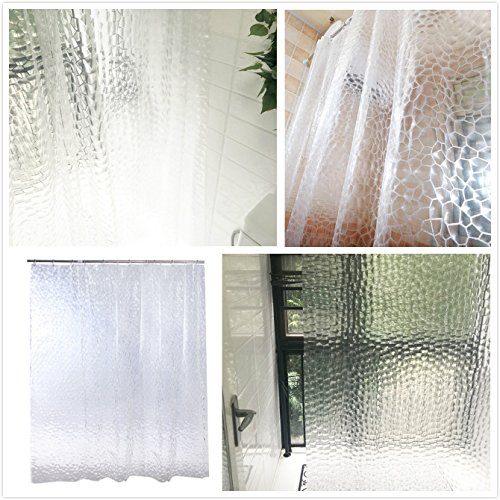 BESTOMZ Tenda Doccia con Anelli Cubi di Acqua 3D Trasparente Impermeabile Antimuffa PEVA 180x200cm