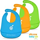 Waterproof Silicone Baby Feeding Bibs with Food Catcher Pocket and Adjustable Strap or Waterproof Silicone Feeding Bibs with Food Catcher Pocket and Adjustable Strap for Babies and Toddlers