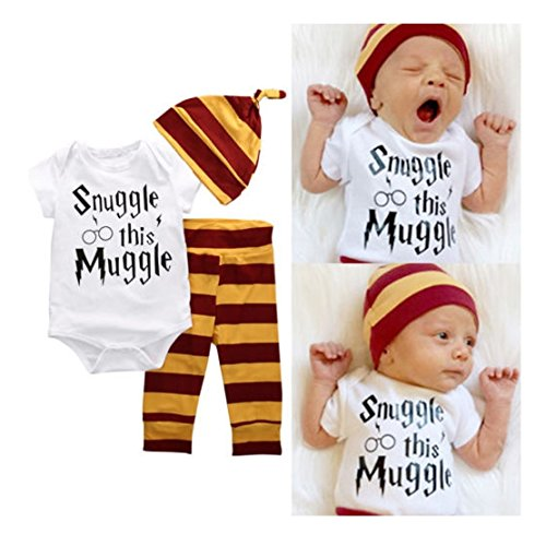 Mefarla Snuggle this Muggle Baby Boys Girls Romper Pants Hat Outfit Set Clothes (6-9 Months)