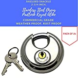 Pack of 24, Stainless Steel Discus Padlocks Keyed Alike 70mm Round Disc Padlock with Shielded Shackle, 2-3/4-inch, Stainless Steel Round Disc Storage Pad Locks All the same key Commercial Grade (24)
