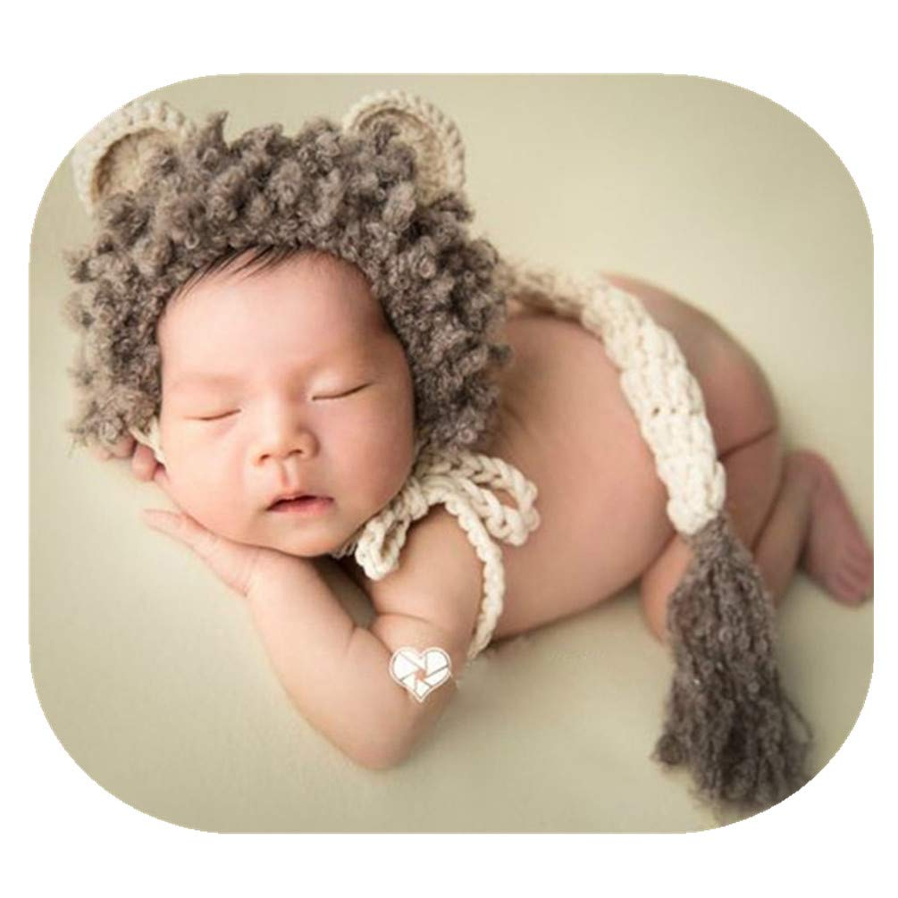 Baby Lion Hat Baby Soft Comfortable Infant Hat Photography Props Newborn Photo Shoot Lion Hat with Tail Sets