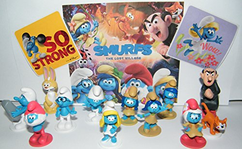 Smurfs Figurine (Smurfs and the Lost Village Deluxe Figure Toy Set of 14 with Figures and Stickers Featuring the Classic Smurfs and Many New Smurf Characters including Bunny Bucky!)