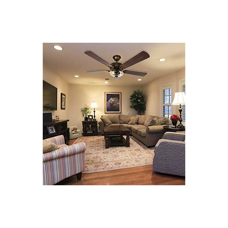 Hykolity 54 Inch Indoor Ceiling Fan with Dimmable Light Kit and Remote Control, Farmhouse Style, Reversible Blades and…