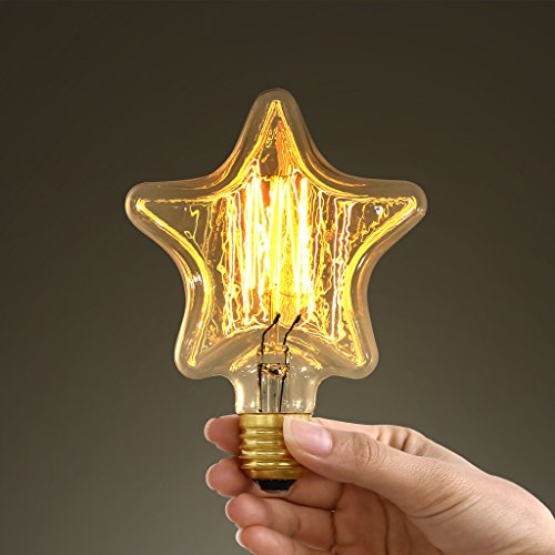mirrea Star Shape Vintage Edison Bulb - S125 - Squirrel Cage Filament - Dimmable (Stars Eggplant)