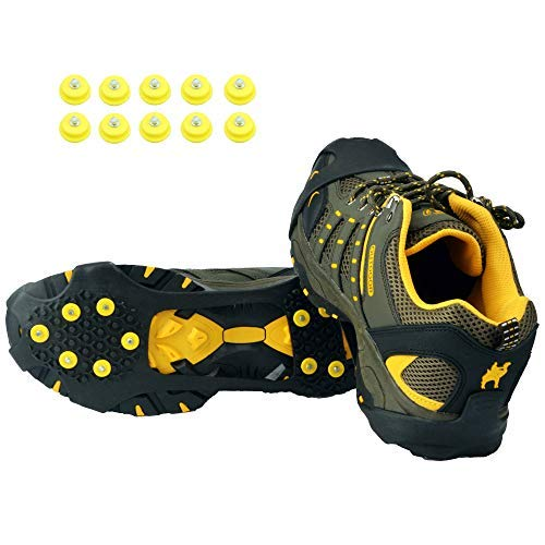 Ice Grips,Crampons Non-Slip Ice & Snow Grips Cleat Over Shoe/Boot Traction Cleat Rubber Spikes Anti Slip 10 Steel Studs Slip-on Stretch Footwear for Hiking and Walking(M)