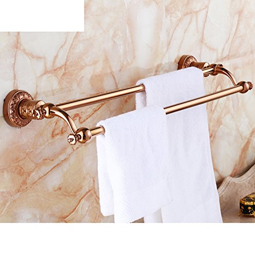 new European-style double towel bar/Golden Towel Bar/Copper carved towel/hook Towel Bar-A