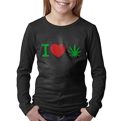 Price comparison product image I Love Weed Juniors Long Sleeve Cotton Crew Neck T-Shirt Tee