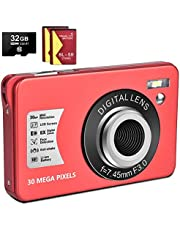 $47 » 1080P Digital Camera 30MP Camera Compact Camera 2.7 inch Pocket Camera,8X Digital Zoom Rechargeable Small Digital Cameras for Kids, Students, Teens,Beginners with 32GB SD Card and 2 Batteries