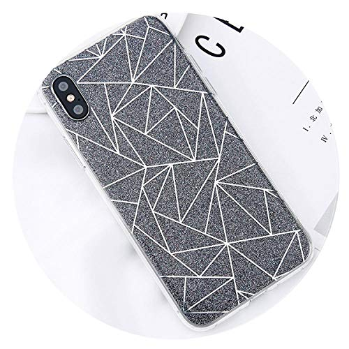 Glitter Bling Powder Phone Case for iPhone X Geometric Lines Hard PC Back Cover Cases for iPhone 8 7 6 6s Plus 5 5s SE,Gray,for iPhone 8 Plus (S5 Hello Kitty Bling Case)