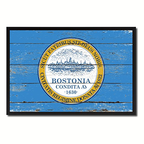 Boston City Massachusetts State Flag Vintage Canvas Print Black Picture Frame Home Decor Wall Art Collectible Decoration Artwork Gifts 19