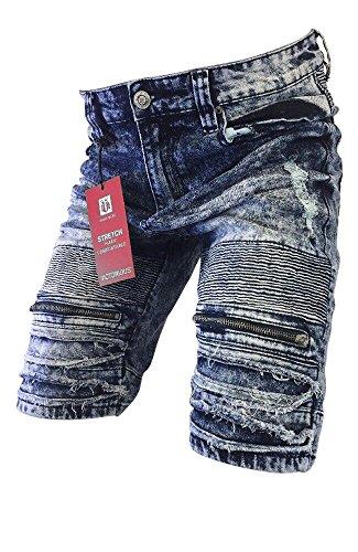 - Men's Victorious Jean Shorts Dark Blue Acid Wash Biker Zipper Distressed Stretch Denim DS2017 (36)