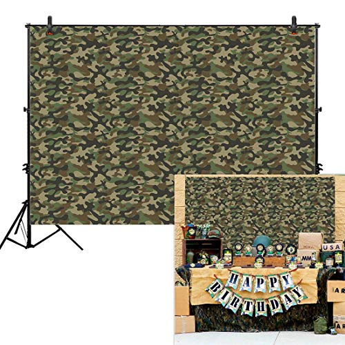 (Allenjoy 7x5ft Army Camouflage Backdrop for Military Commando Marines Soldier Jungle Theme Summer Outdoor Birthday Party Boy Photography Event Table Decor Banner Background Baby Shower Photo Booth)