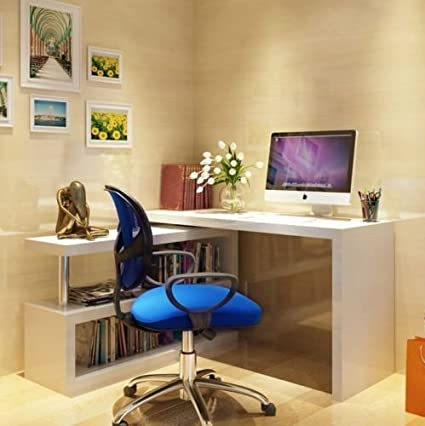 Great H4home White High Gloss Office Desk Large Executive Computer Table L Shaped  Corner Computer Desk