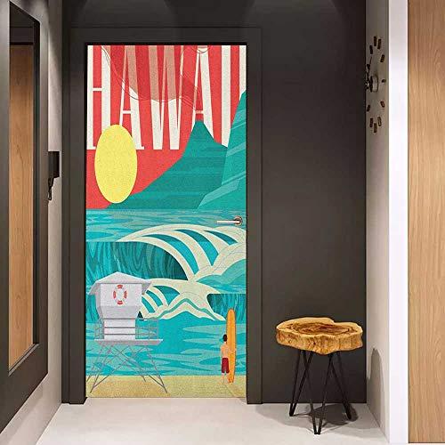 Onefzc Door Wallpaper Murals Hawaiian Hawaii Sandy Coastline Sunny Day Surfboard Tropics Famous Honeymoon Destination WallStickers W23 x H70 Sand Teal ()