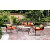 Mainstays* 4-Piece Patio Conversation Set, Seats 4 in Orange Stripe Review